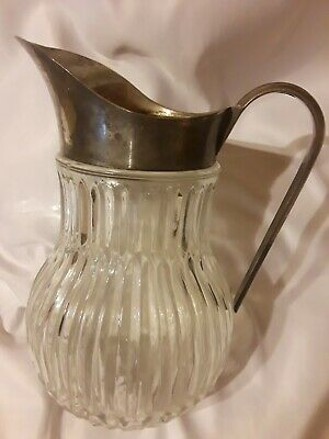 Vintage Italy Silver Plate Ribbed Crystal Glass Water Ice Pitcher Lipped Barware 11