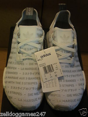 63e8237cb6e19 ADIDAS NMD R1 3 Stripes White Solid Grey Size Uk 8   9   Us 8.5 ...