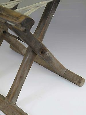 A Chinese Antique Wood Rope Folding stool 10.6'' H light wood tone ancient chair 4