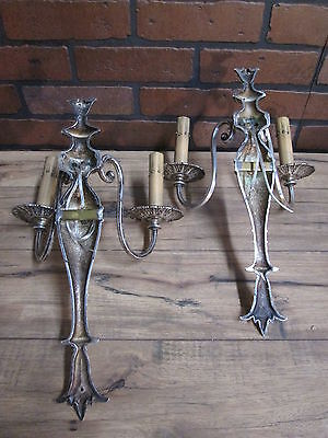 Vintage Antique Pair Wall Sconces Silver Plate 2 Arm Wall Lights 5
