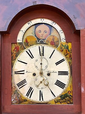 Antique 8 Day Rolling Moon Grand Father Clock By Price Of Chester 4