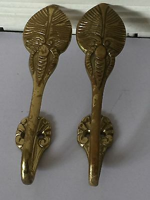 Metal Beetle Bug Design Wall Brass Hooks Hardware Set Of 2 Antique Highly Adorn 3