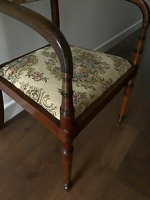 Antique Regency Mahogany Carver Chair With Downswept Arms And Lift Off Seat 6