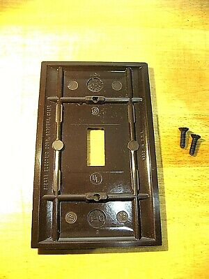 Vintage Sierra Ribbed Brown Bakelite Switch//Recepticle Combo Cover NOS NNB