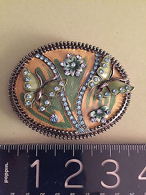 ANTIQUE style Austrian crystals+ ENAMEL BELT BUCKLE-with Butterflies/Flowers WOW 3