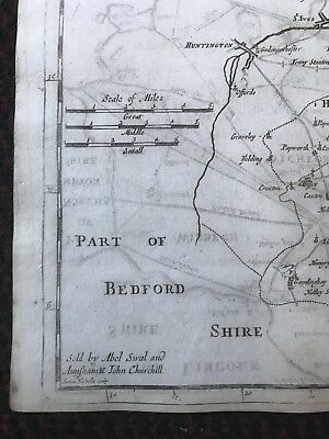 1695 COUNTY of CAMBRIDGESHIRE Original English Antique Map  Robert Morden RARE 4
