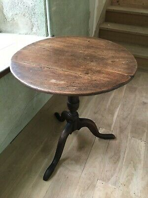 18th Century Small Oak and Elm Georgian Turned Tilt Top Round Table Occasional 2