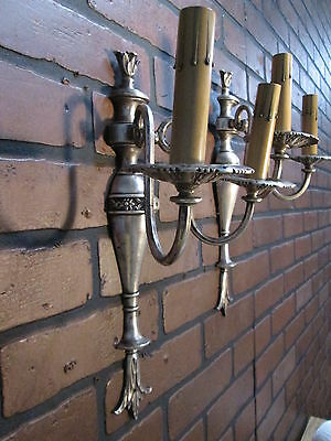 Vintage Antique Pair Wall Sconces Silver Plate 2 Arm Wall Lights 3