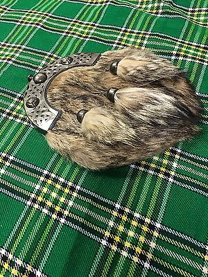 New Full Dress Kilt Sporran Fox Fur Celtic Cantle Antique/Scottish Kilt Sporrans 3