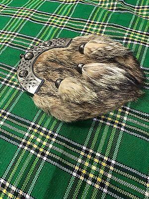New Full Dress Kilt Sporran Fox Fur Celtic Cantle Antique/Scottish Kilt Sporrans 3