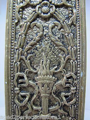 Antique Door Push Plate ornate flame torch ribbons bows floral old brass bronze 4