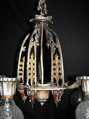 Antique Art Deco Victorian Cast Metal Chandelier Ceiling Light Fixture 20's 7