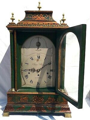 Antique Chinoiserie Green Laquered Triple Fusee Bracket Clock Chiming On 8 Bells 3
