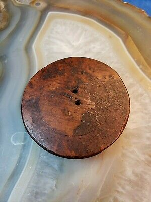 "Hand Carved Wooden Button, Flower Pattern,  About  1 12/16"" Wide 4"