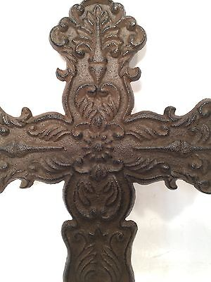 Cross Crucifix Cast Iron Wall Hanging New Vintage Floral & Filigree Home Decor 3