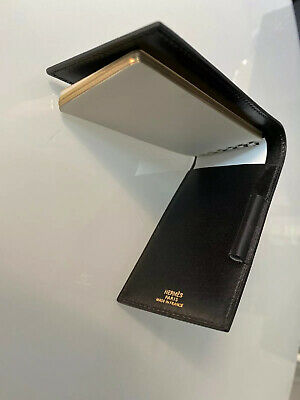 HERMES SMALL BLACK LEATHER NOTEPAD note book Purse Accessory France 9