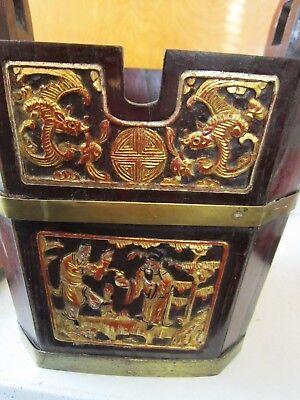 Antique Chinese Wedding Basket Hidden Wood Lock w/Gold Carved Figures Brass Band 8