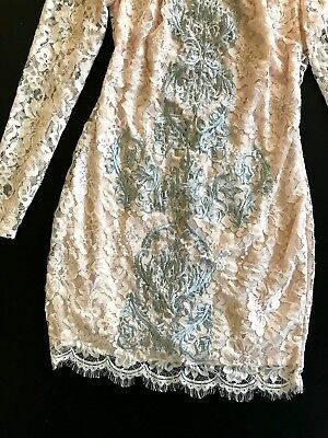 NWT Bebe coral pink blush lace floral open back long sleeve top dress M Medium 6 6
