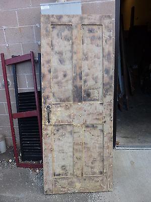 "Early 19th century RAISED panel door w/ SMOKED design decor 76 x 30 x 1 7/16"" 12"