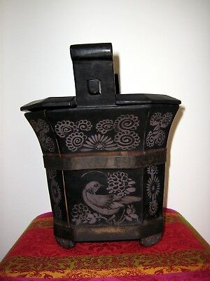 Tung Chih Qing Dynasty Chinese Lacquered Hand-Painted Teapot Box 1862-1874 4