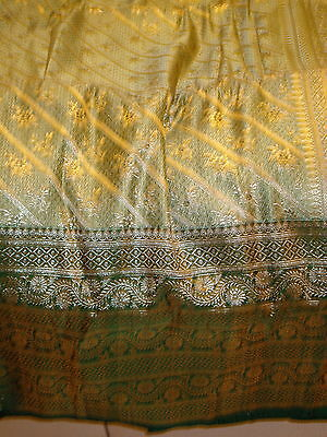 Bn Ladies Green & Gold Banarsee Saree With Heavy Border With Blouse Piece 8