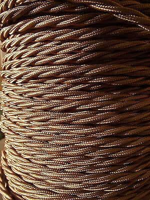5mts Antique Style 3 core Gold Fabric Covered Electrical Cable flex light lamp 2