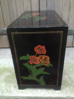 Black Lacquer Chinese 2 Drawer 2 Door Altar Table Oriental Cabinet Birds Flowers 10
