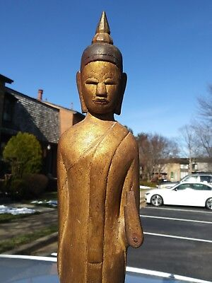 Old Asian Thailand carved wood Standing Temple Buddha statue with hidden scroll 3
