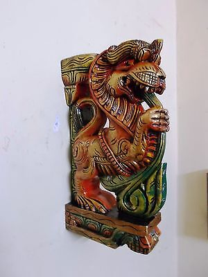 Beautiful Yalli Wooden Bracket Hindu Temple Corbel Pair Architectural Design New 6