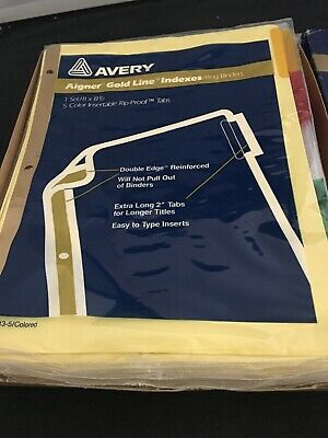 "NIP~AVERY Set of 5~ Aigner Gold Line Ring Binder Indexes w//Clear Tabs 11/"" x 8.5/"""