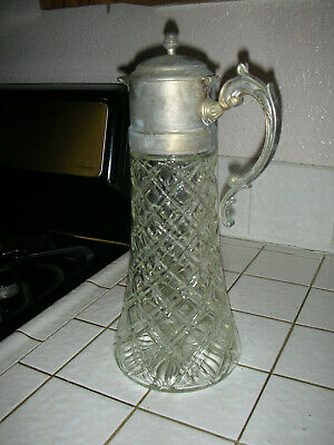 Tall Vintage Godinger Silver Plated lid, Lead Crystal Water Pitcher 8