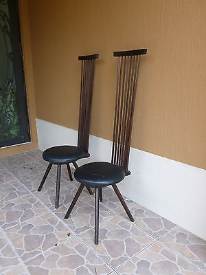 2 Bench Made Modernist Jeffrey Greene Exaggerated Back Chairs Nakashima Protege 2
