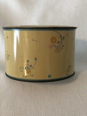 Vintage Cara Nome Powder Jar Container Metal Tin Light Yellow Round Cosmetic 4