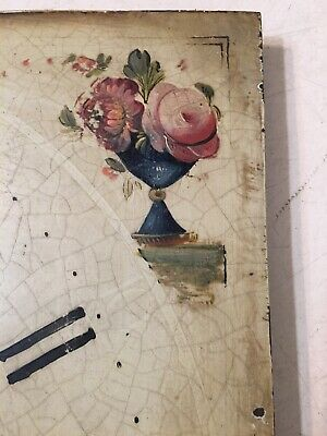 Antique Grandfather Clock Dial With Hand Painted Flowers In Vases & Baskets 3