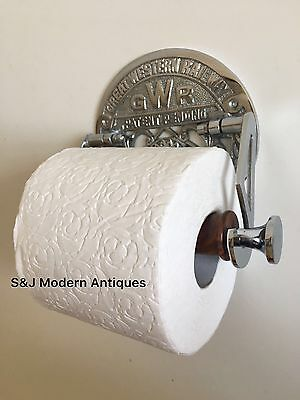 Victorian Toilet Roll Holder Novelty Chrome Unusual GWR Vintage Design Silver 10