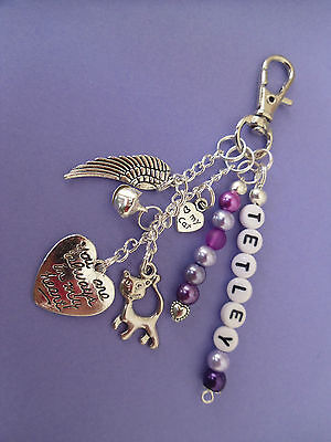 Pet Loss/In Memory memorial loss of cat, key/bag charm, personalised free 7