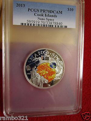 With NANO Chip 10$ 50g Silver Proof Coin NANO SPACE Cook Islands 2013