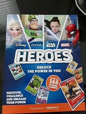Sainsburys Disney Heroes Cards With Complete 144 Card Set & Empty Album 5