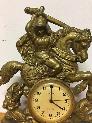 USSR SLAVA 11 Jewel Gilt Knight Sleighing Dragon Clock Rococo Decor Design 2