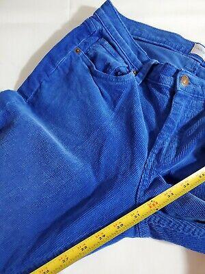 """Lands' End Women's Corduroy Pants Size 32"""" Pin Straight Canvas Cobalt Blue Rare 8"""