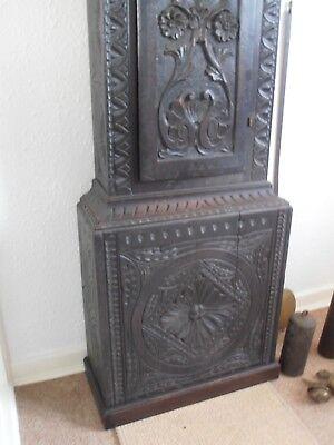 Antique 8 Day Brass Arch Dial Oak Grandfather Longcase Clock ALEX GORDON DUBLIN 5
