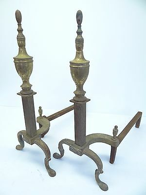 Antique Pair Metal Iron Brass Decorative Claw Foot Fireplace Andiron Log Holders 7