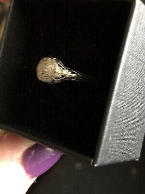 Beautiful 18k White Gold Victorian Style Diamond Wedding Ring - SZ 5.5 3