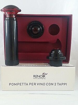 2 Tappi Renoir Srl Colore ORANGE 1 SET Salva-Vino con 1 Pompetta per VUOTO