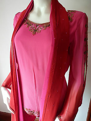 Asian Wedding Cerise Pink & Red Trouser Suit With Scarf   M   Ret £350   Bnwt 5