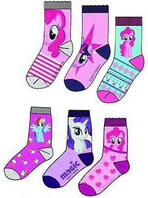 6 x Pairs of Girl's Character Socks  U.K. Shoe Sizes 6 - 2.5 (Roughly 1-8 Yrs) 9