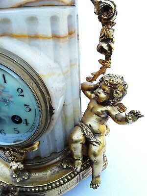 Antique French Onyx Marble Mantel Clock With Cherubs Gilt Bronze 8 Day 19Th C 8