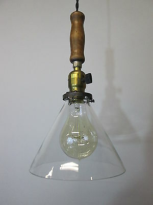 """Vintage Industrial Drop Pendant Light Wooden Handle Scientific Cone Shade 13"""" 4"""