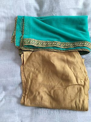 New Indian Asian Turquoise And Gold dress Churidar And kameez 2