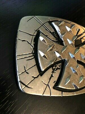 Unique Cross Belt Buckle by Chrome Numbered Silver Tone and Black Dimensional 3